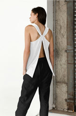 Stik Twist Back Singlet - White