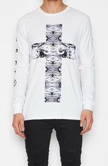 Testify Long Sleeve T-shirt - White by KSCY - Picpoket