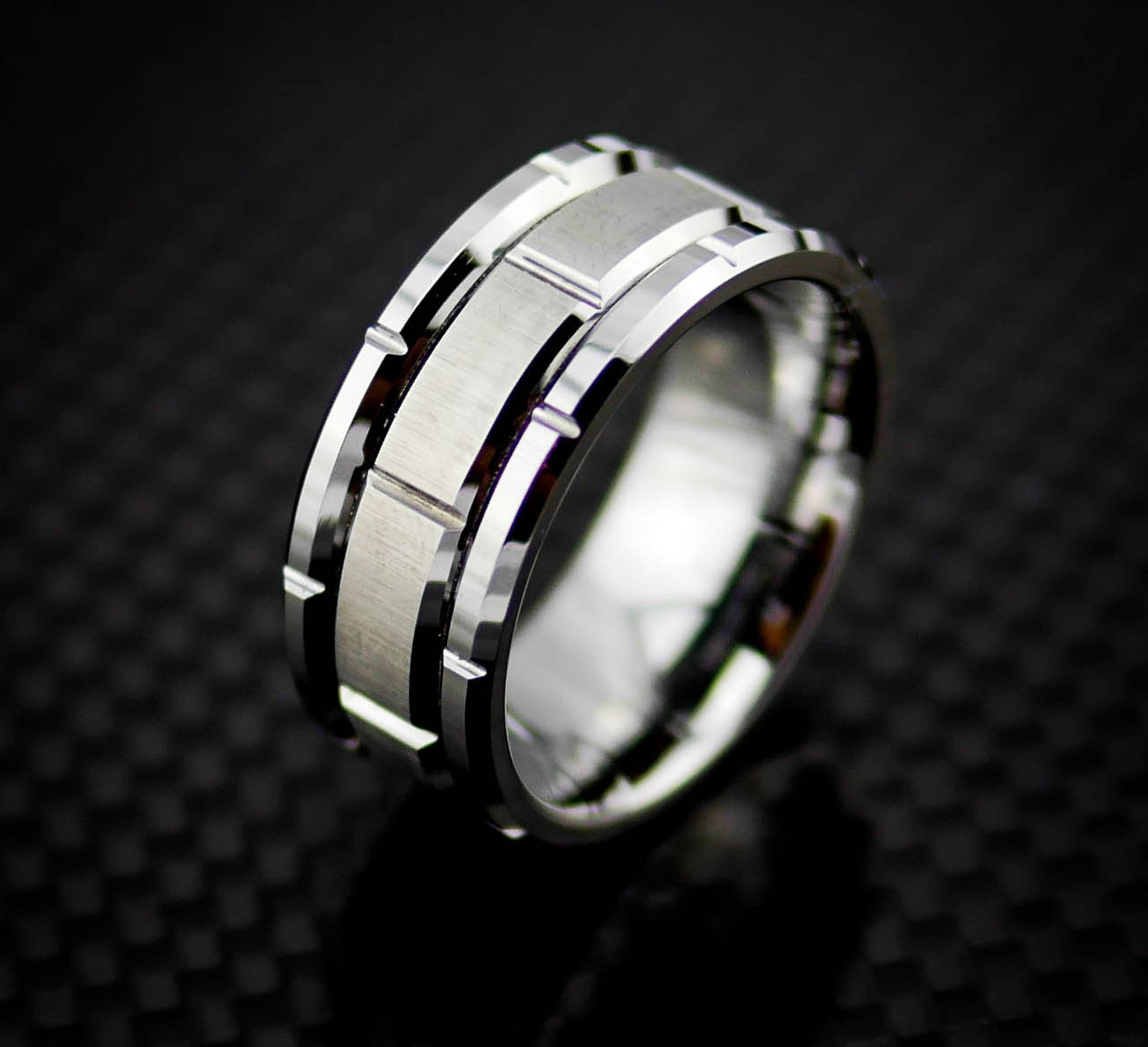 s tungsten stripe atop brushed black rings itm edge band silver mens ring wedding gold