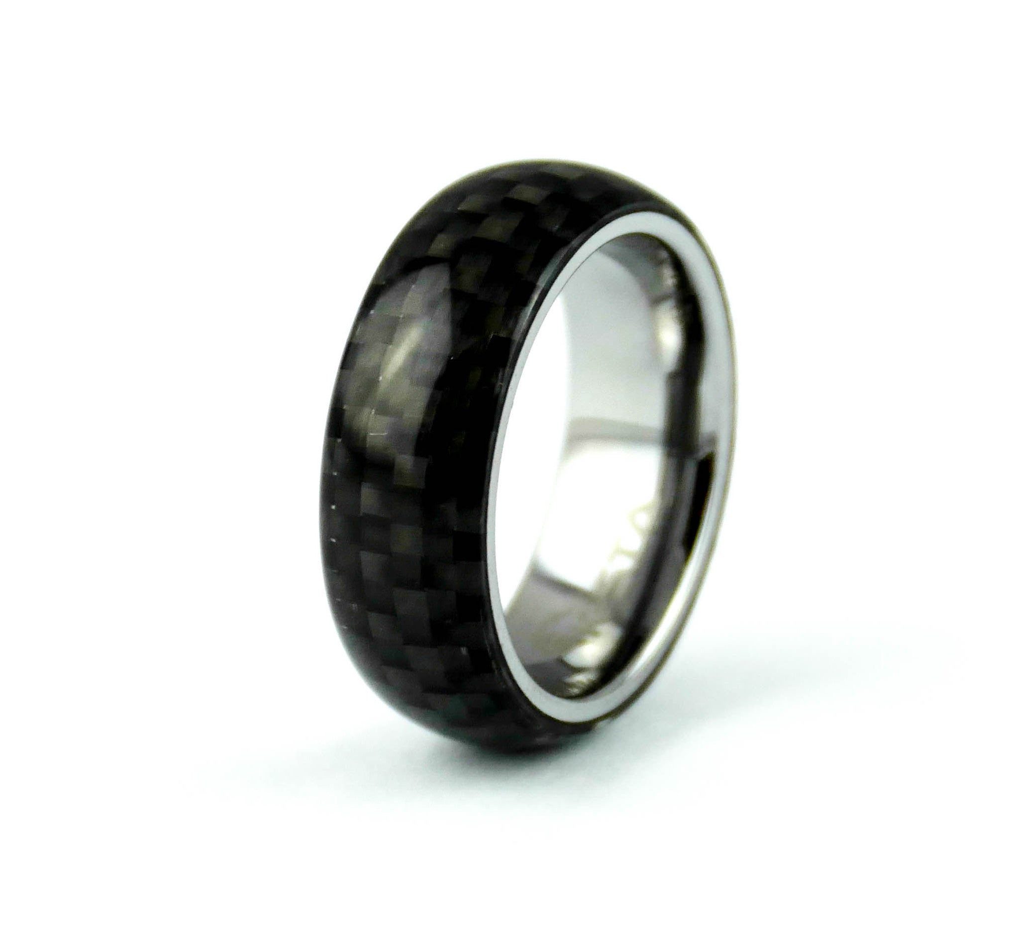 rings fiber carbide band celtic ring black blue wedding carbon tungsten mens itm