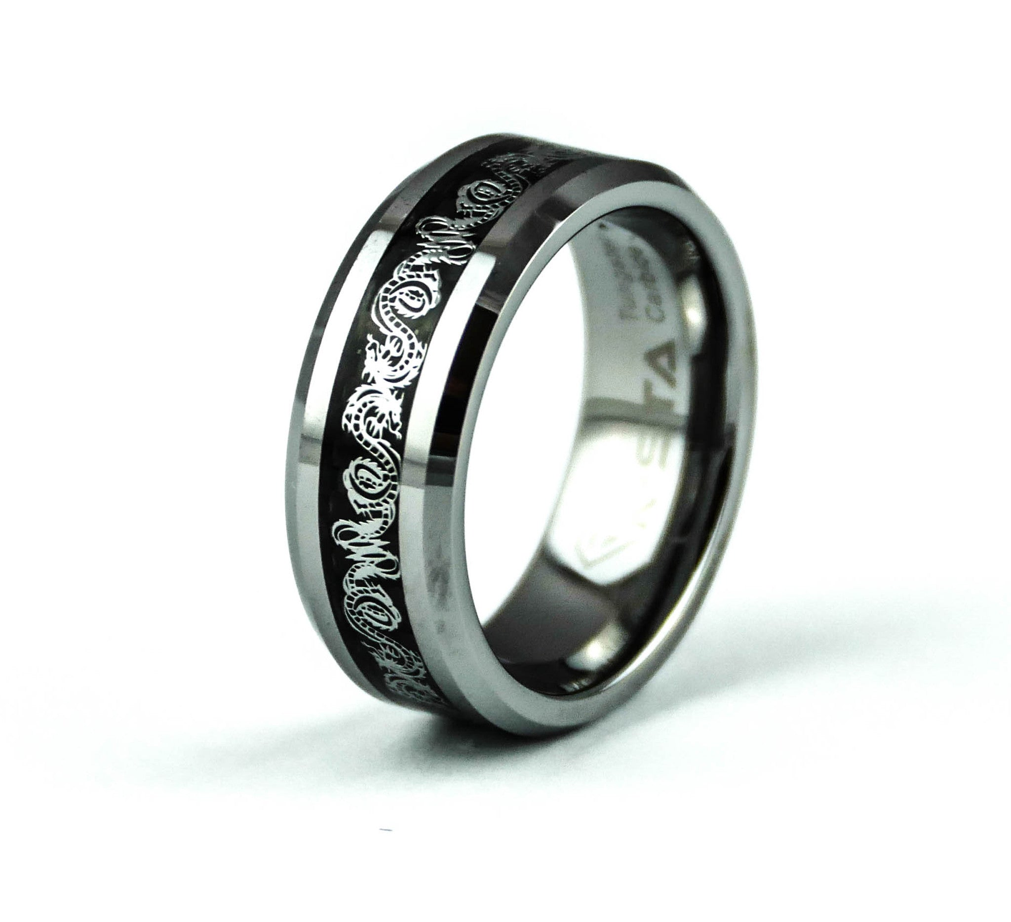 ceramic band ring women carbon black half fiber pin dome wedding men rings