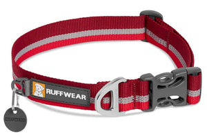 Ruffwear Crag Dog Collar in Cindercone Red  with reflective trim