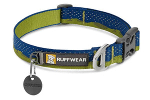 Ruffwear Crag Dog Collar in a Green Hills pattern with reflective trim