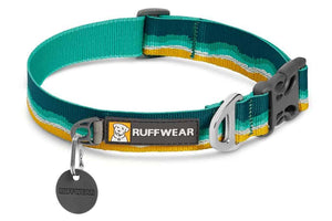 Ruffwear Crag Dog Collar in a Seafoam pattern with reflective trim