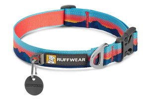 Ruffwear Crag Dog Collar in Sunset Pattern with reflective trim