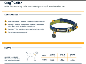 Chart showing the features of a Ruffwear Crag Collar