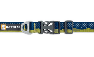 Ruffwear Crag Dog Collar in Green Hills pattern closeup to show the easy release buckle