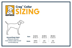 Ruffwear Crag Dog Collar Sizing Chart