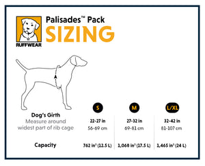 Ruffwear Palisades Pack Dog Backpack buy at Canine Spirit Australia Sizing Chart