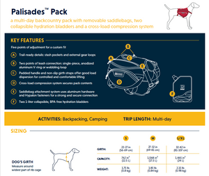 Ruffwear Palisades Pack Feature Product Sheet