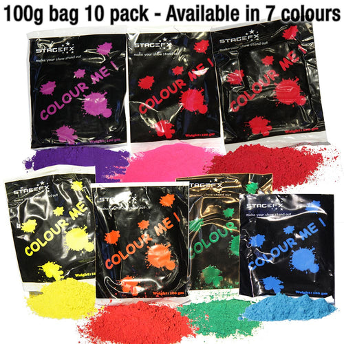 Colour Powder / Holi Powder 100g bag 10 pack (10 individual bags)