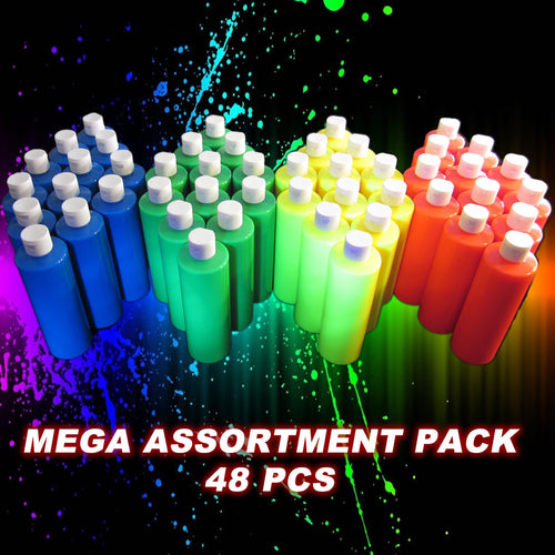 Colour Me Neon Party Paint 473ml (16oz) x 48 Bottle Mega Assortment Pack