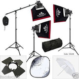 Photography Studio Spot Light Lighting Boom Stand 3 Softbox Kit Free Ship