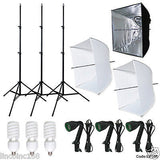Photography Studio Video Photo Square Softbox Lighting 3 Bulbs 3 Light Stand Kit