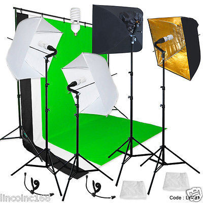 Photography Backdrop stand 3 Muslins Studio Lighting Light Softbox Kit Linco