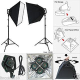 2000W Video Continuous Lighting Photography Softbox Light Stand Photo Studio Kit