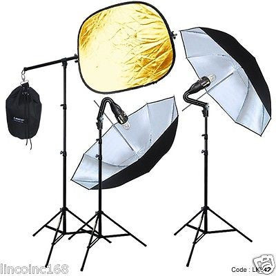 Photography Video Strobe Flash Light Lighting Slave Boom Stand Kit