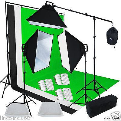 Linco Studio 3 Color Muslin Backdrops Video Light Lighting Boom Kit New CK008