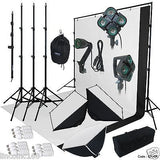 9x13 BW Backdrop Support Stand Photography Studio Video Softbox Lighting 3Kit
