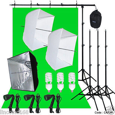 Photography 3 Light Bulb Lighting Muslin Backdrop Stand Boom Photo Studio Light