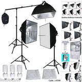 Photograpy 3 Softbox Boom Stand Continuous Lighting Kit Photo Studio Video Pheno