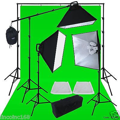 Photo Studio Video Light Lighting 9x21 Green Background Stands Case Kits