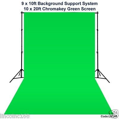 10 x 20 Chromakey Green Screen Backdrop Background Stand for Studio Light Kit