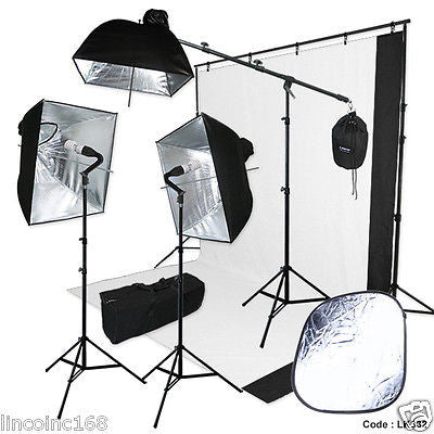 Pheno Backdrop Support Stand Photography Studio Video Softbox Lighting 3 Kit