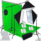 Chromakey Green Screen Lighting Kit 2400 Watt 9'×13' Backdrop Background Stand