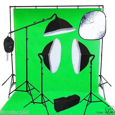 10 x 13 Chromakey Green Screen Studio Lighting Kit W/ Backdrop Stand Light