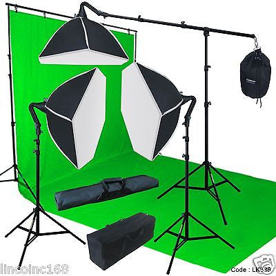Chromakey Green Screen Lighting Kit 10' x 20' Backdrop Muslin 9' x10' Background