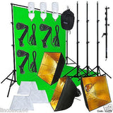 Green Screen Muslin Backdrop Stand Photography Studio Lighting Kit