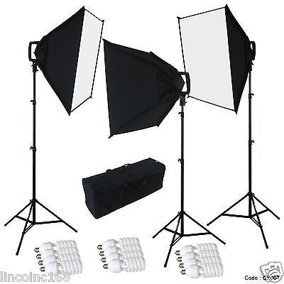 LINCO STUDIO PHOTOGRAPHY 4 SOCKETS LIGHT W/ SOFTBOX LIGHTING KIT W/ BAG CK007