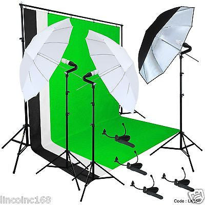 Photo Studio Lighting Photography Studio Backdrop Stand 3 Muslin Light Kit