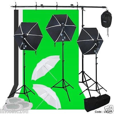 Photography Lighting Muslin Backdrop Stand Studio Light Kit New Linco 3 Softbox
