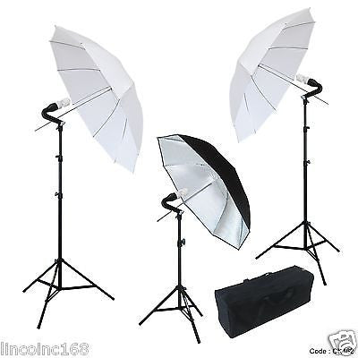 Photo Studio Translucent White Umbrella 3x Photography Lights lighting Kit