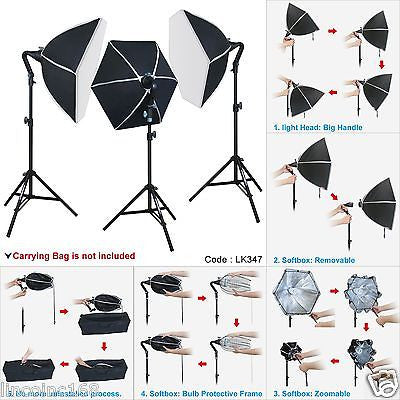 Studio Lighting Photo Softbox 3 Bulb Mini Light Stand Kit