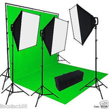 Chromakey Green Screen Lighting Kit 2400 Watt 9'×15' Backdrop Background Stand