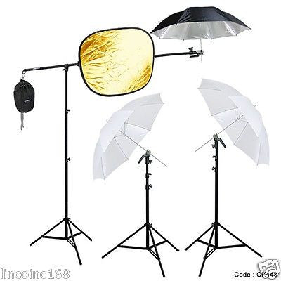 Studio Photography Lighting Boom Stand Kit for Speedlite W/ Reflector Holder