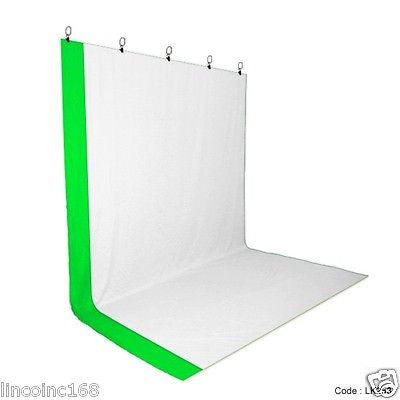 Chromakey Green White Screen Muslin Backdrop for Studio Lighting Kit