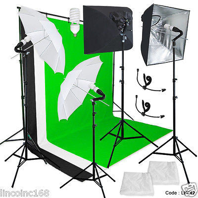 Linco Pheno Studio Lighting Softbox Umbrella Photography Backdrop Stand Kit