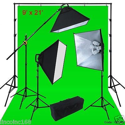 Chromakey Green Screen Lighting Kit 2400 Watt 9'x21' Backdrop Background Stand