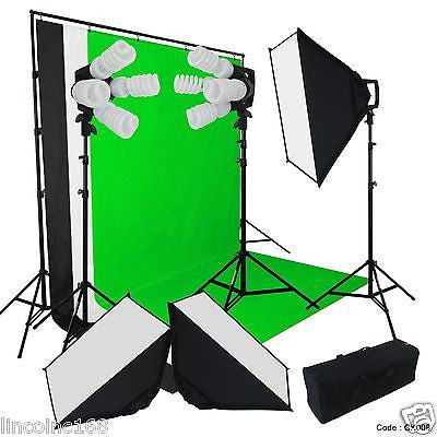 Continuous Photo Video Studio 3 Softbox Lighting W/ Backdrop Stand Kit Linco