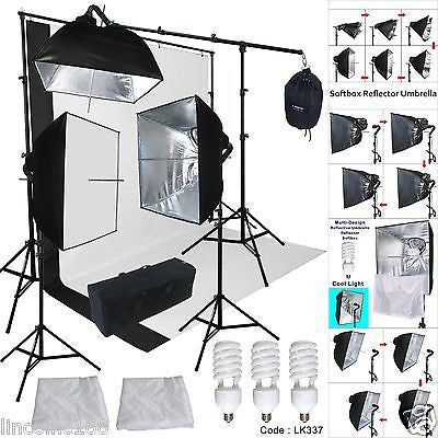 Cirrus 3 Light Kit with Silver Pheno Square Umbrellas and Boom. Background Support, BW Muslins and Bag Included