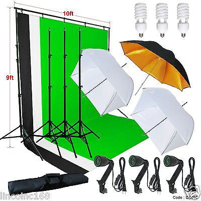 Photography Studio Lighting 9x10 Backdrop Stand Muslin Set Photo Light Kit