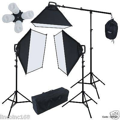 Linco Photography 3 Softbox Boom Stand Continuous Light Kit Photo Studio Flora X