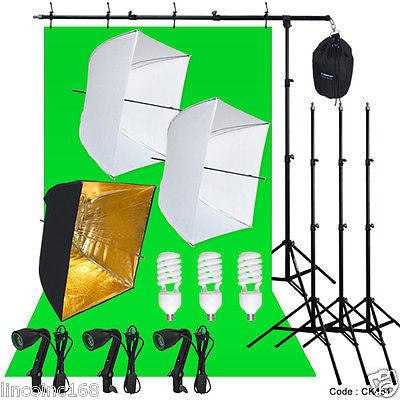 Photography Studio Lighting Kit 3 Point Light Backdrop Stand Muslin Photo