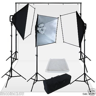 Chromakey White Screen Lighting Kit 2400 Watt 9'×15' Backdrop Background Stand