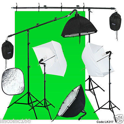 Photography Studio Lighting Backdrop Boom Stand Photo Light Kit