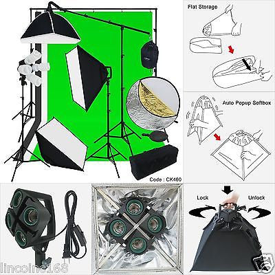 Studio Lighting Backdrop Stand 3 Softbox Muslin Light Kit Flora X